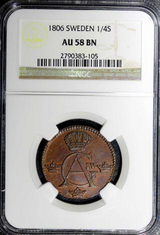 Sweden Gustaf Iv Adolf Copper 1806 1/4 Skilling Ngc Au58 Bn Km 564 N/r photo