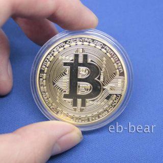 Bitcoin Btc Collectible Coin Gold Plated 1 Ounce photo