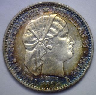 1894 Haiti 20 Centimes Silver Coin Au Details And Toning R photo