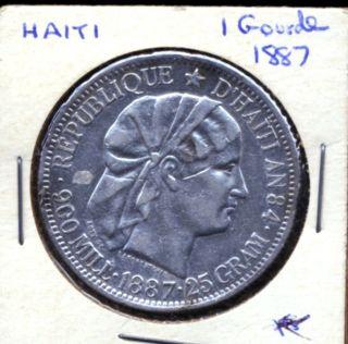 Haiti 1882 1 Gourde Silver Scarce Coin Km 46 25 Grams photo