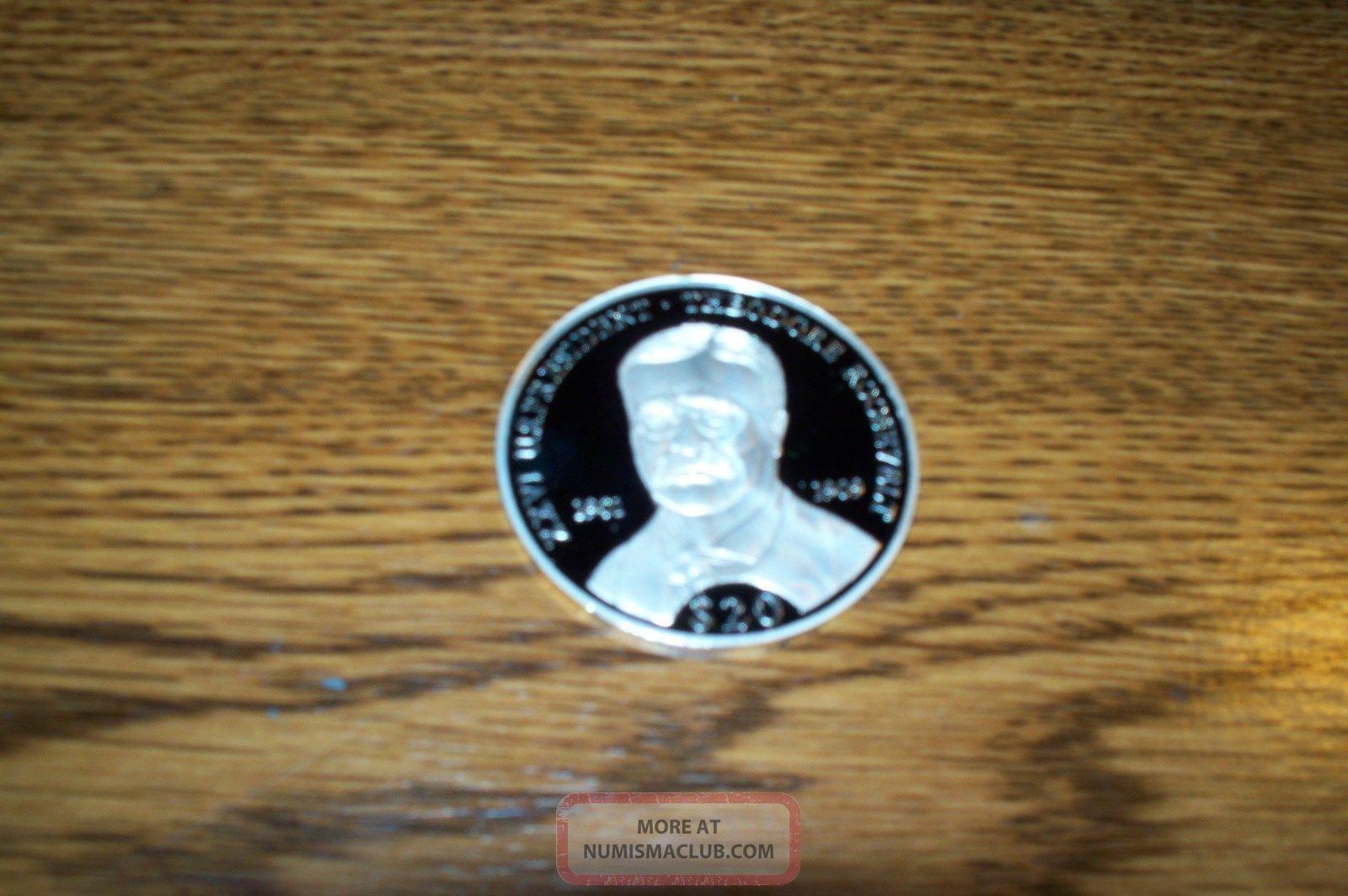 2000 Theodore Roosevelt 20 Dollar Silver Proof Liberia