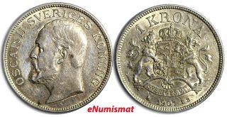 Sweden Oscar Ii Silver 1907 Eb 1 Krona Xf 25mm Km 772 photo