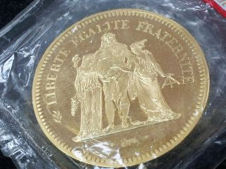 France 1978 Gold 50 Franc Piedfort 3.  01oz Gold Coin,  Very Rare photo