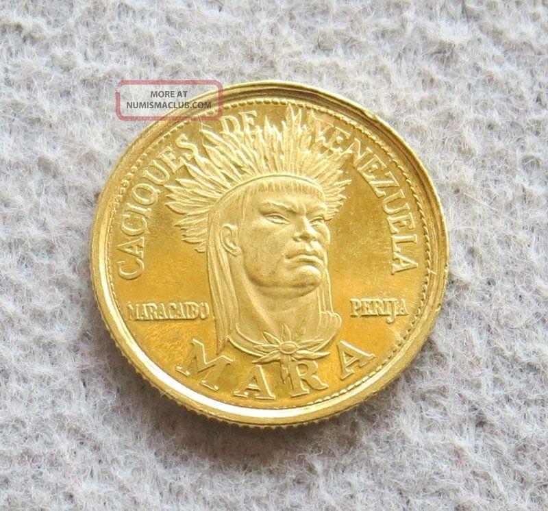 1962 Gold Caciques De Venezuela 5 Bolivares Mara Indian