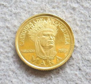 1962 Gold Caciques De Venezuela 5 Bolivares Mara Indian Chief Proof Coin photo