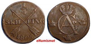 Sweden Gustaf Iv Adolf Copper 1805 1/4 Skilling 27.  5mm Km 564 photo