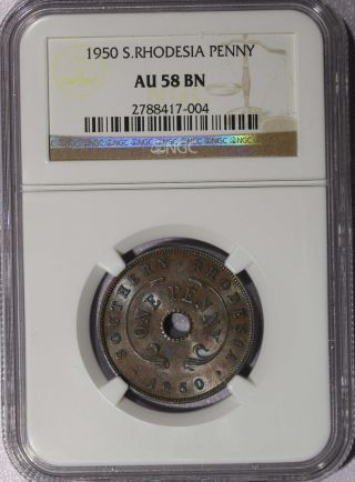 Southern Rhodesia 1950 Penny Ngc Au58 Bn Luster Km 25 N/r photo