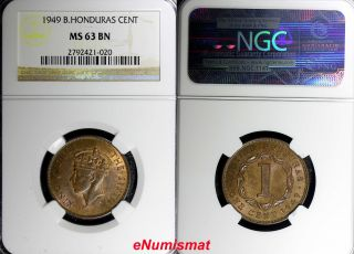 British Honduras George Vi Bronze 1949 1 Cent Mintage - 100,  000 Ngc Ms63 Bn Km 24 photo