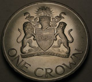 Malawi 1 Crown 1966 Proof - Nickel/brass - Day Of The Republic July 6,  1966 845 photo