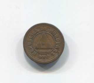 Honduras - Rare (dot Divides Date) 2 Centavos,  1920 photo