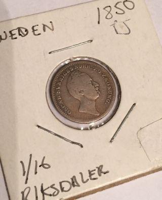 1850 Sweden Oscar I Silver 1/16 Riksdaler photo