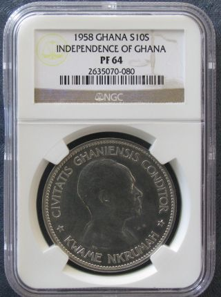 1958 Ghana Silver Proof 10 Shilling; Ngc Pf64 Independence Of Ghana; Km 7 photo