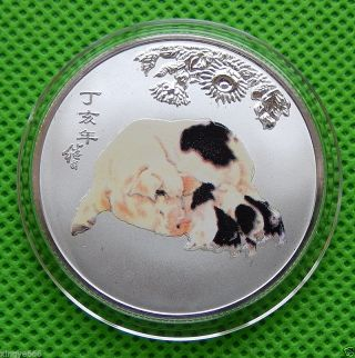 Chinese Year Auspicious Color Silver Plated 12 Zodiac - Pig photo