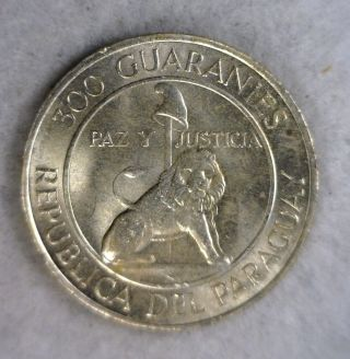 Paraguay 300 Guaranies 1968 - 1973 Bu Silver Coin (stock 1563) photo