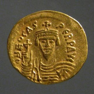 Phocas Av Gold Solidus_constantinople Mint_christogram & Cross_centurion photo