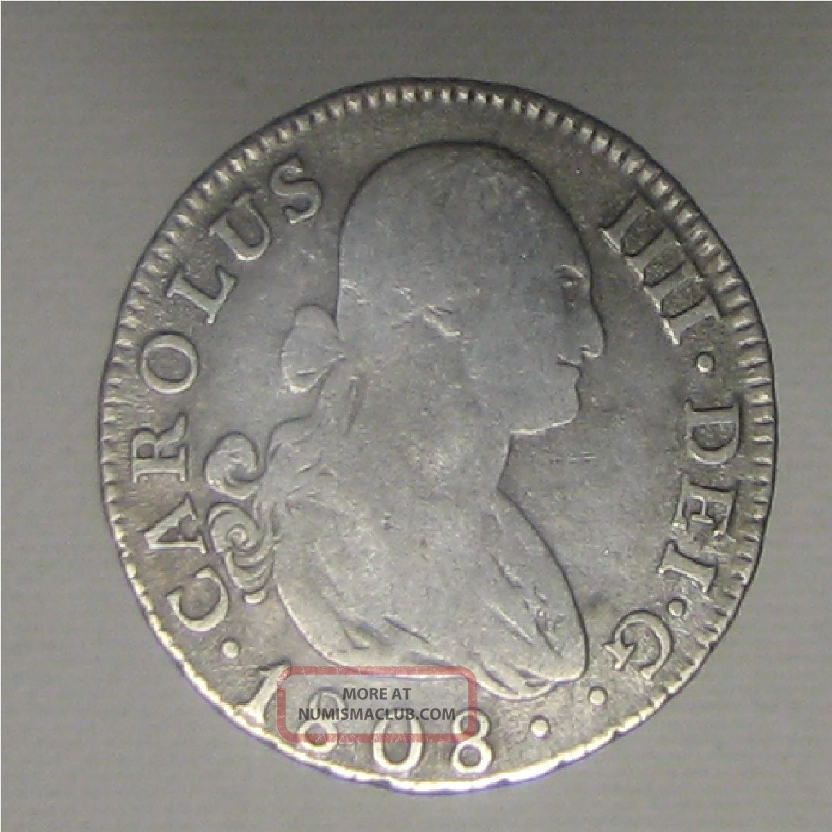 Rare 1808 Spanish 2 Reales Silver Coin From Madrid