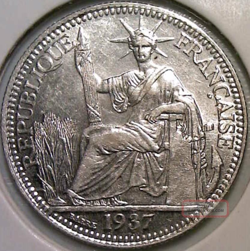 1937 French Indochina 10 Cents Silver Coin Au Uncirculated