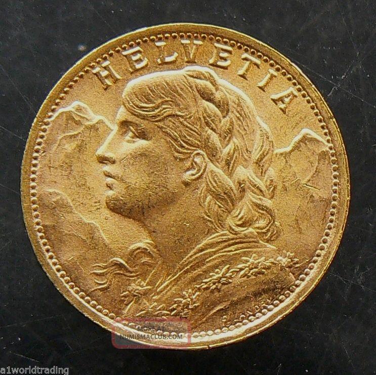 1935 B Swiss Helvetia 20 Francs Gold Coin