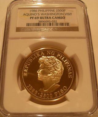 Philippines 1986 Gold 2500 Piso Ngc Pf - 69uc Aquino ' S Washington Visit photo