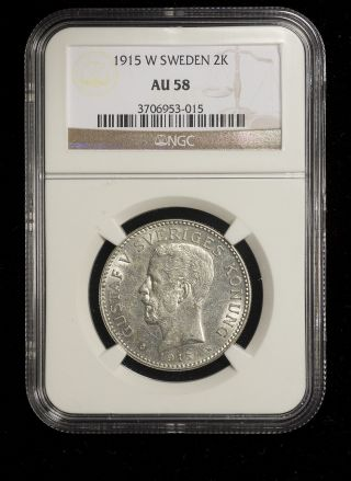 Sweden 1915 2 Kronor Ngc Au - 58 Scarce This Low Mintage photo