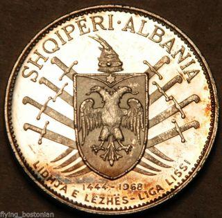 Albania Proof Silver 5 Leke 1969 (victory Over The Turks 500th Anniversary) photo