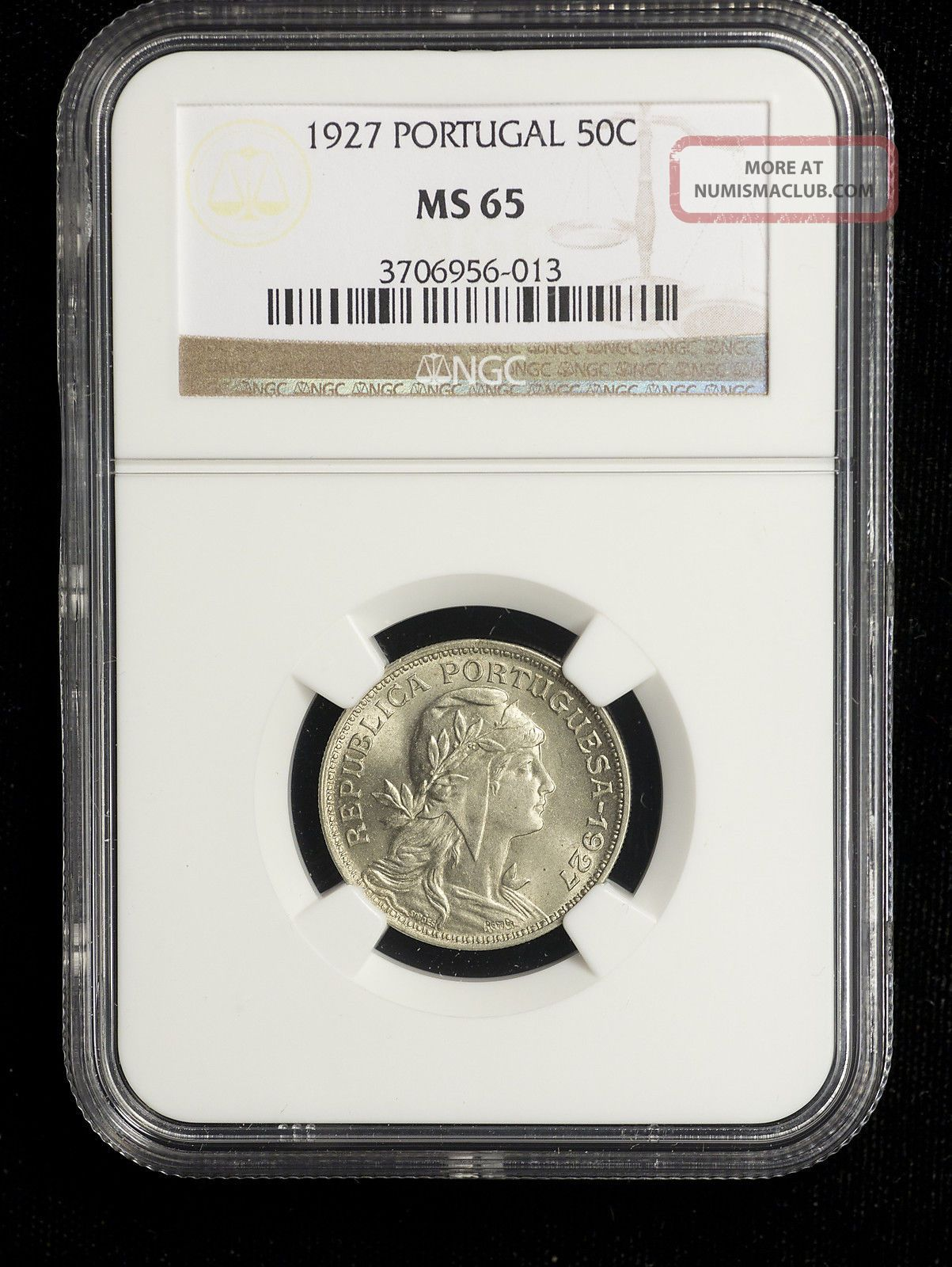 Portugal 1927 50 Centavos Ngc Ms - 65 1st Year Of Issue Only 1 Graded Higher Europe photo