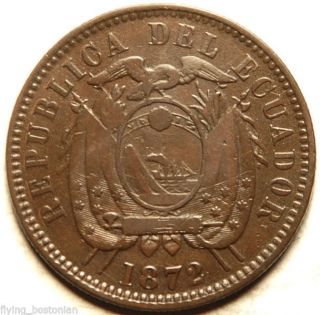 Ecuador Copper 1 Centavo 1872 (better Date) Heaton photo