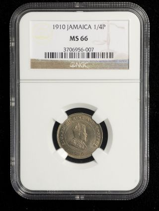 Jamaica 1910 Farthing Ngc Ms - 66 1/4 Penny Rare Low Mintage Sharp & Lustrous photo