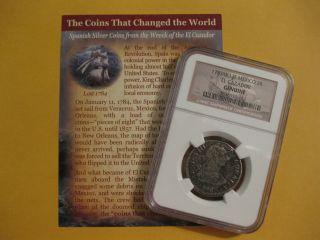 1783 El Cazador Shipwreck Coin,  Ngc Ceritfied,  2 Reale,  Mid Grade Silver 132 photo