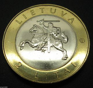 Lithuania 2 Litai Coin 2012 Bi Metall Horse Resorts Series - Druskininkai photo