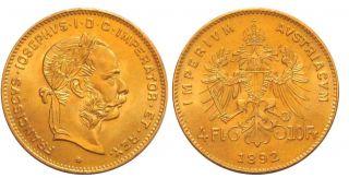 1892 Austria 10 - Franc (4 - Florin) Gold Coin Au - photo