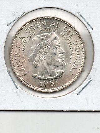 Uruguay 1961 Silver 10 Pesos photo