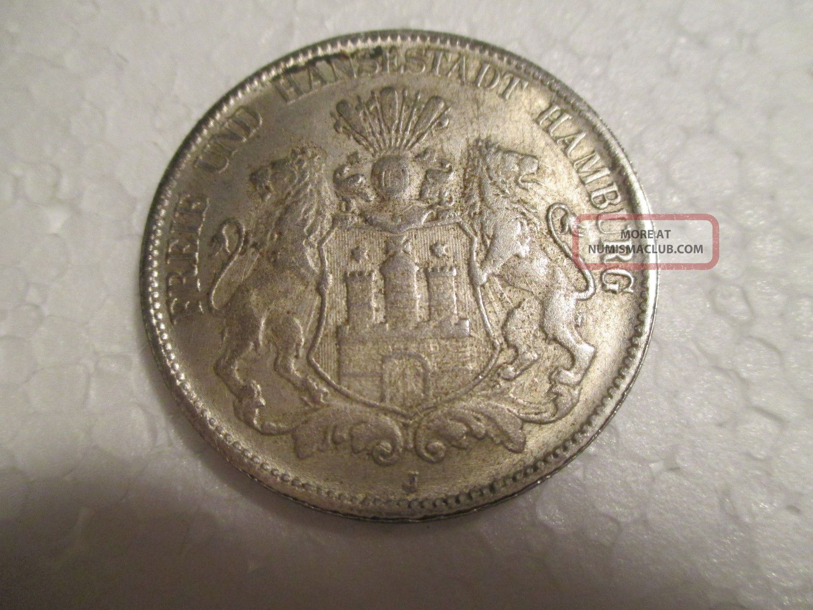 German 1903 J Silver 5 Mark Freie Stadt Hamburg Germany photo