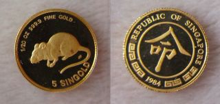 1984 Pure 999.  9 Gold Singapore 1/20th Oz 5 Singold Year Of The Rat photo