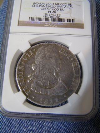 Rare Km - 258.  3 Chilpanzingo Counter Struck On Cast 1811 Mohj 8 Reales Great Look photo