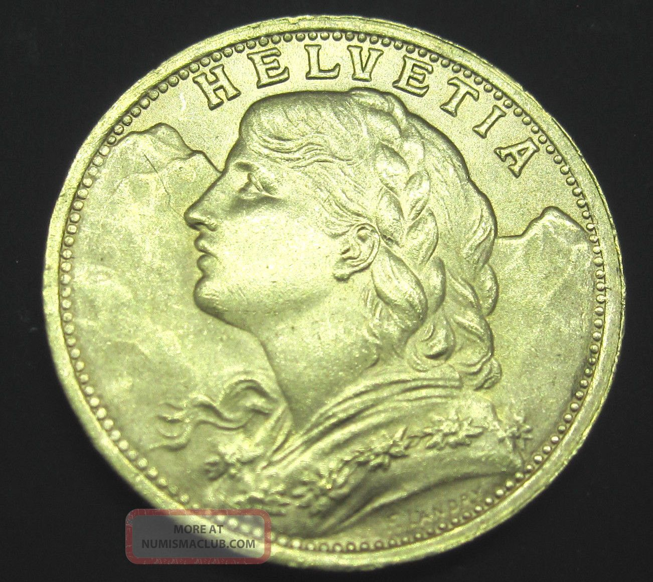 Swiss Helvetia L1935 B 20 Franc Gold Coin 1867 Troy Oz Gold Uncirculated