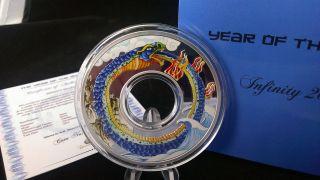 2013 Tokelau Infinity Snake Lunar Year Coin - 2 Oz Silver.  999 $10 Bullion photo