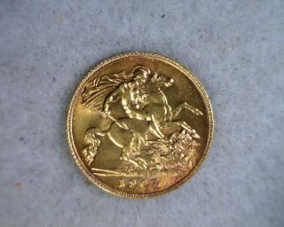 Great Britain 1/2 Sovereign 1907 Bu Gold Coin (stock 1410) photo
