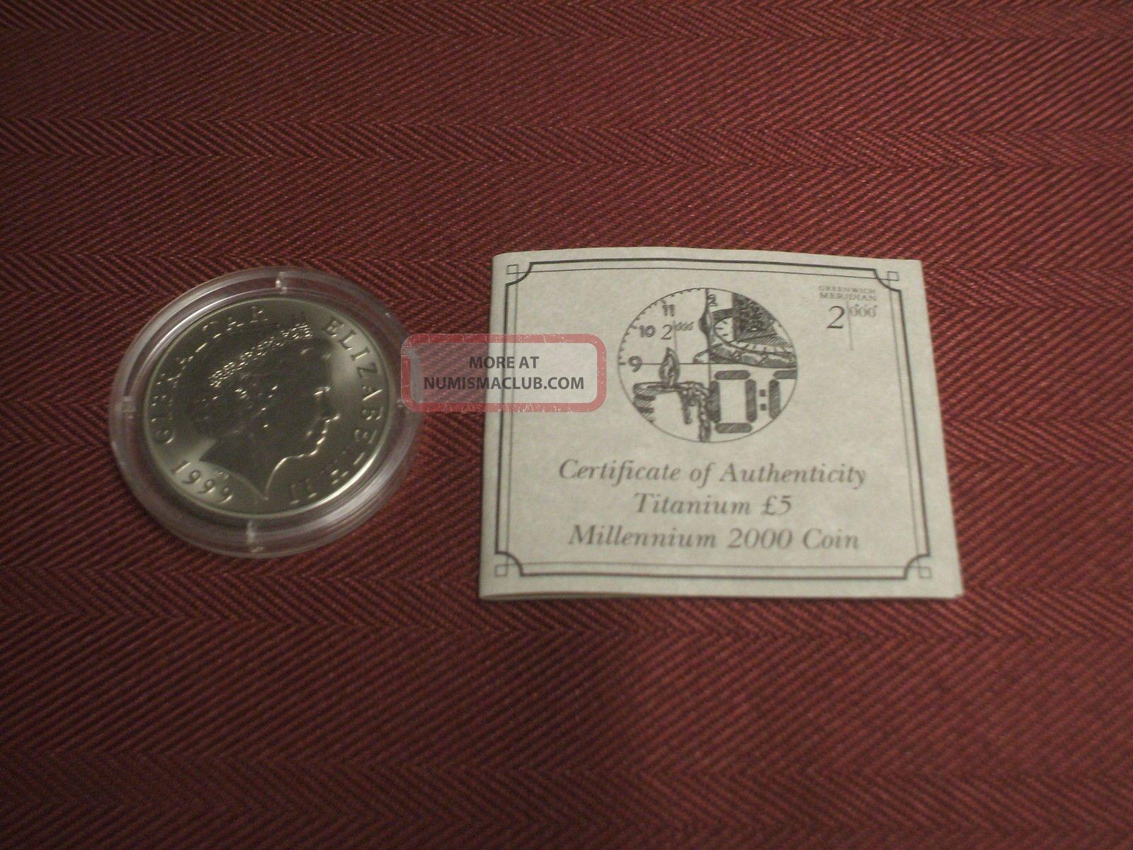 1999 Gibraltar Titanium 5 Pound Coin Millennium 2000 £5 Queen Elizabeth Time Europe photo