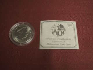 1999 Gibraltar Titanium 5 Pound Coin Millennium 2000 £5 Queen Elizabeth Time photo