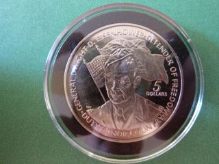 1990 Niue 5 Dollar Dwight Eisenhower Defender Of Freedom Coin photo