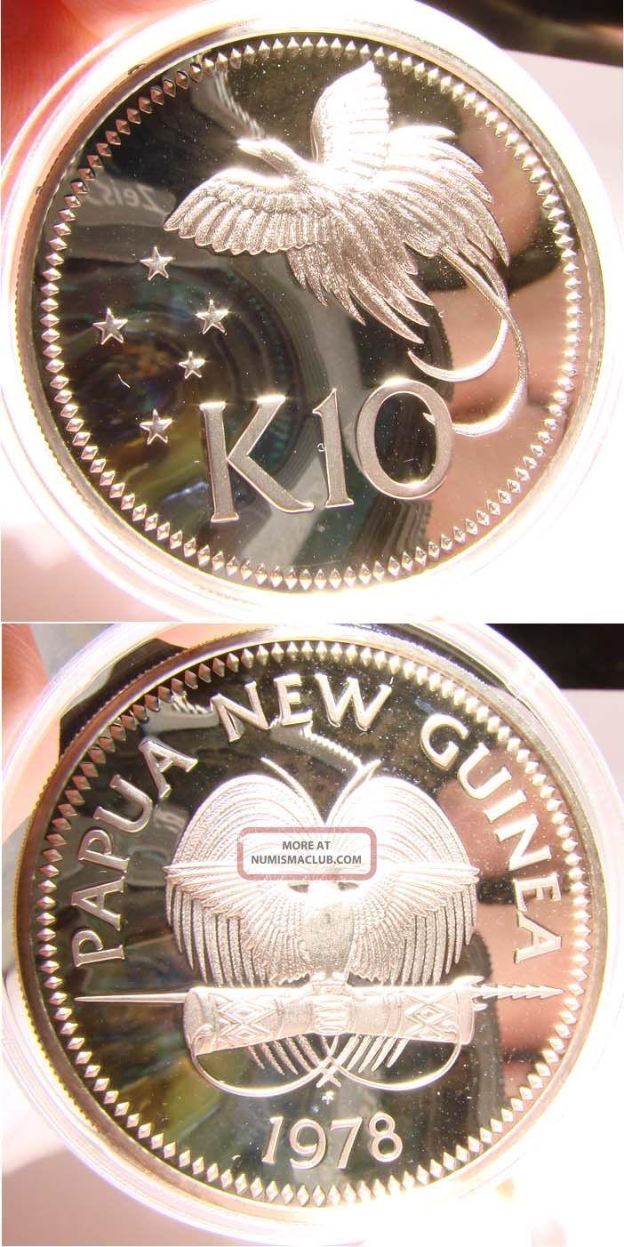 Papua Guinea 10 Kina 1978 Proof Silver Coin W Raggiana