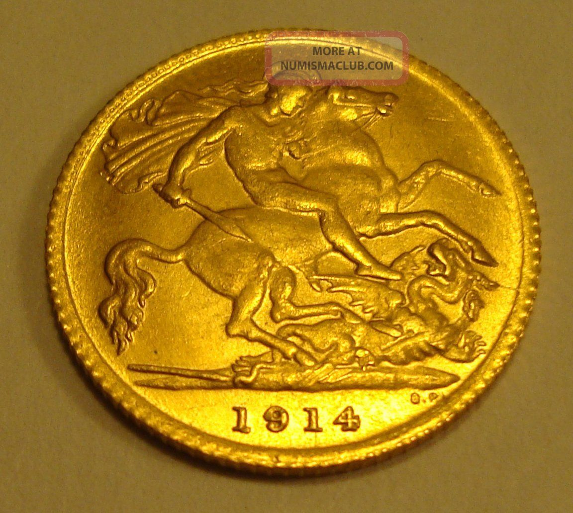 1914 Half Sovereign King George V Dragon Coin 22 Carat
