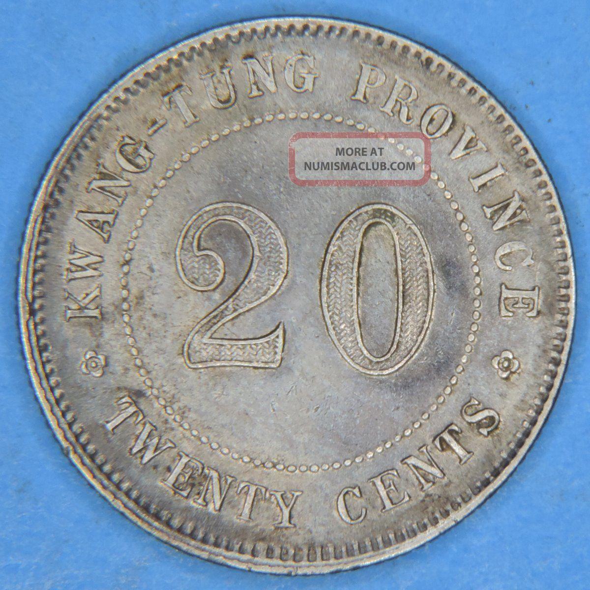 1924 Yr13 China Kwang Tung Province 20 Cents Silver Coin