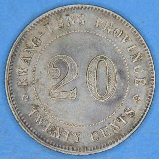 1924 Yr13 China Kwang - Tung Province 20 Cents Silver Coin photo