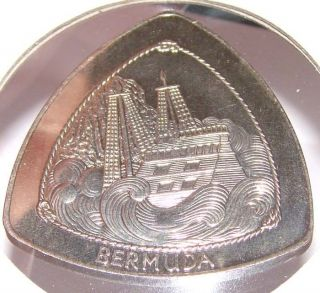 Bermuda 1 Dollar 1997 Xf/au Triangle Coin W/ Ship - Wreck Of The Sea Venture photo