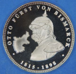 1815 - 1898 Otto Bismarck Pour Le Merite Solid 999 Silver Proof Commem.  Medal photo