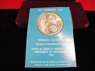 1972 Jamaica $10 Sterling Silver Specimen Coin Bu photo