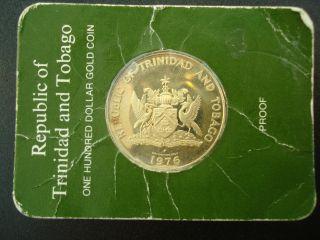 1976 Trinidad & Tobago $100 Dollar Proof Gold Coin photo