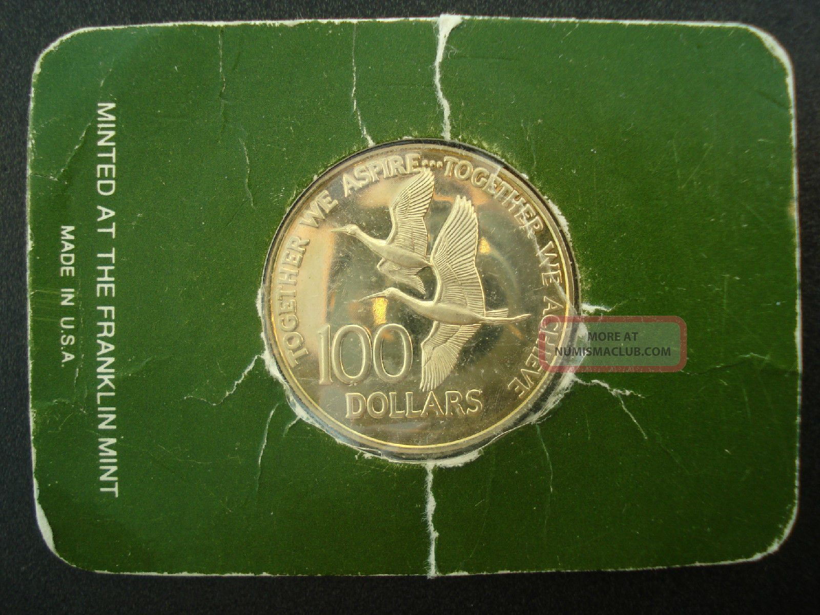 1976 Trinidad Amp Tobago 100 Dollar Proof Gold Coin